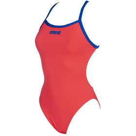 arena Solid Light Tech High One Piece Swimsuit Dame fluo red/neon blue